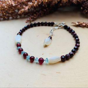 Apatite & Garnet Gemstone Silver Bracelet Jewelry